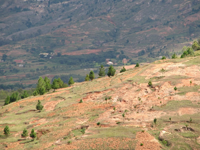 Deforested slopes in Madagascar