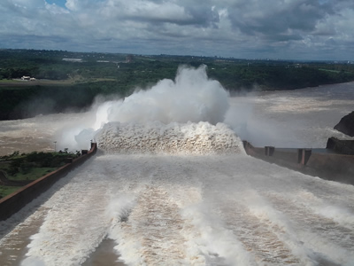 Turbulent water released by the hydropower plant