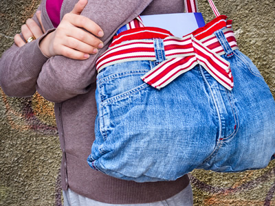 Old jeans repurposed as a purse