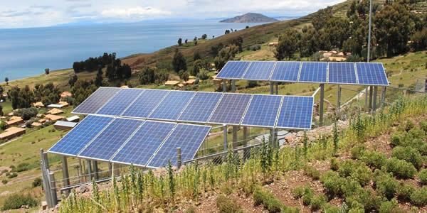 Solar array exposed to the Mediterranean sun