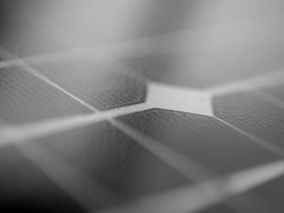 Close up of thin film solar cells