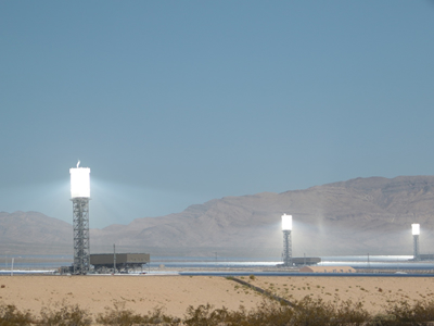 Concentrated solar power plant in California- receivers on top of towers