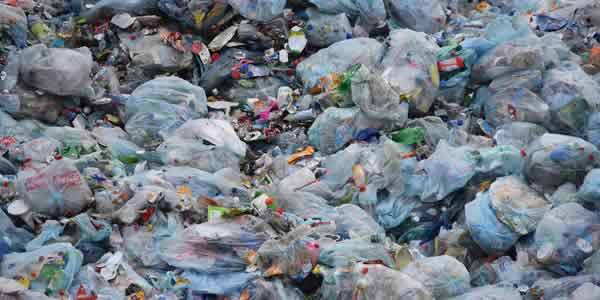 Plastic waste at landfill