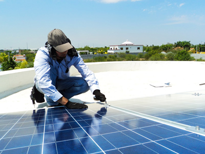 Solar panels are secured to the roof.