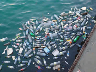 Plastic waste in water