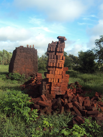 Burning of bricks like these is largely contributing to heavy deforestation.