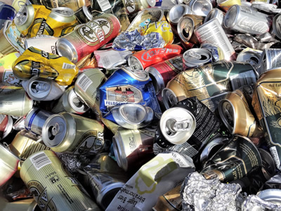 Aluminum cans ready to be recycled