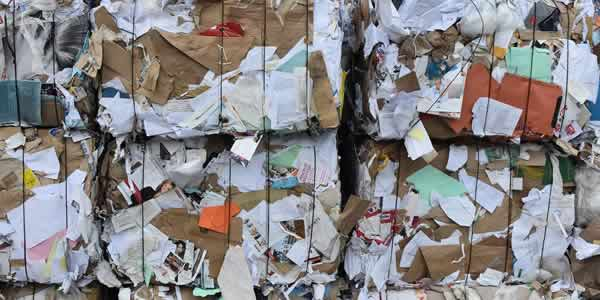 Paper bales prepared for sorting