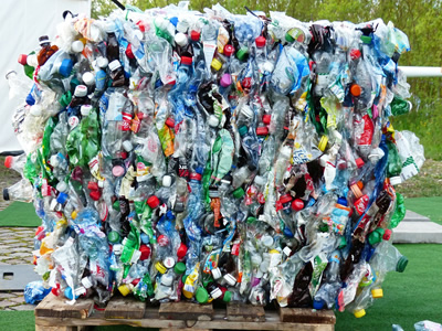 A bale of plastic bottles