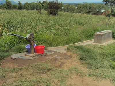 It takes one more than an hour to pump out just 30 litres of water from this borehole due to low water table.