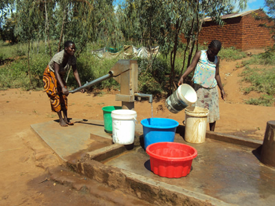 Boreholes are the only means of safe water for most households in Malawi.