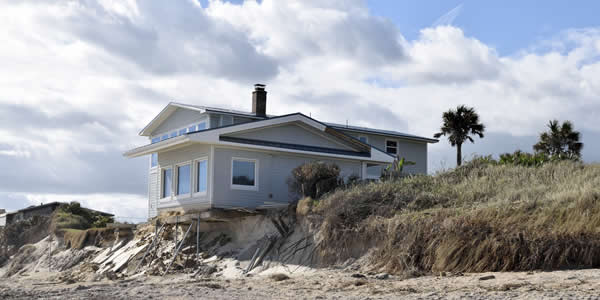 Coastal erosion due to rising sea levels